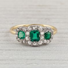 Three Stone Diamond and Emerald Engagement Ring | New York Vintage & Antique Estate Jewelry – Erstwhile Jewelry Co NY