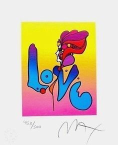 """Love I, Ltd Ed Lithograph (Mini 6"""" x 5""""), Peter Max - SIGNED with COA"""