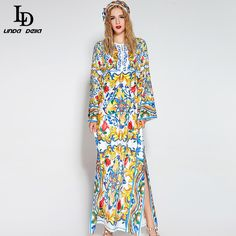 Long Party Dresses O-Neck Gorgeous Beading Belted Casual Loose Floral Print Long Dress
