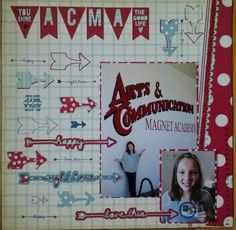 Fun to add another of my creations to this board!  A layout for my daughter's middle school registration, created with my Silhouette Cameo and cuts from the Studio Calico Silhouette class I'm taking!