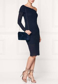 Buy Navy One Sleeve Lace Dress from the Next UK online shop Party Dresses For Women, Evening Dresses, Your Style, Shoulder Dress, Jumpsuit, Fashion, Evening Gowns Dresses, Overalls, Moda