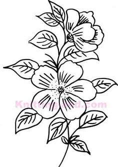 hand drawn flower embroidery design