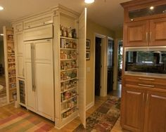 built- in refrigerator look & excellent extra storage for small kitchens - frame. built- in refrigerator look & excellent extra storage for small kitchens - frame out door to match cabinets - Design Ideas, Remodel, and Decor - page Small Kitchen Storage, Pantry Storage, Kitchen Pantry, Diy Kitchen, Extra Storage, Pantry Cupboard, Pantry Cabinets, Hidden Storage, Kitchen Ideas