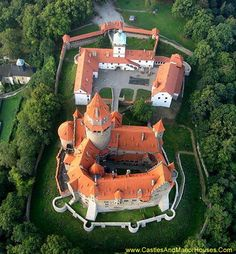 Bouzov Castle, Located between Hvozdek and Bouzov, Moravia, Czech Republic.... http://www.castlesandmanorhouses.com/photos.htm ... Bouzov Castle (Czech: Hrad Bouzov) built on a hill is an early 14th-century fortress first mentioned in 1317. In 1696 the barony was bought by the Grand Master of the Teutonic Order. The Grand Master from 1799 to 1839, Archduke Eugen Habsburg, decided to rebuild it in a Romantic, Neo-Gothic style. Since 1999 the castle has been a national monument.