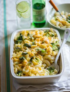 Broccoli mac and cheese recipe- healthy version but with lots of flavor. I added some  chicken breast before baking & made it an even more better complete meal.