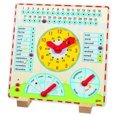 Calendrier horloge en bois Goki