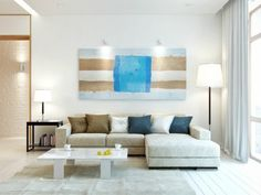 Cheerful Emotion On Beach Color Apartment Decor Accents: white beach theme home living room with beige sofa bed and glossy white coffee table also with beige rugs and wooden flooring and also white living room curtain Beach Living Room, Home Living Room, Living Room Designs, White Rooms, Inspired Homes, Apartment Design, Bedroom Apartment, Home Interior Design, Interior Ideas