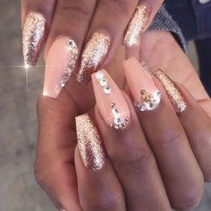 No gems peach/mauve & rose gold nails