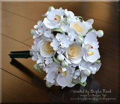 White on white wedding bouquet created entirely out of cardstock.