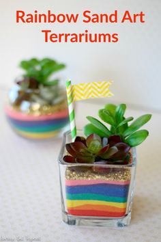These Rainbow Sand Art Terrariums are sure to put a smile on anyone's face! Add a lot of color to glass vases with colored sand in rainbow hues! A perfect St. Patrick's Day craft for any age! Sand Art Crafts, Nature Crafts, Diy Arts And Crafts, Teen Crafts, Sand Art For Kids, Diy For Kids, Art Kids, Colored Sand Art, Fairies Garden
