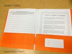 Speech folder, welcome letter, parent communication log