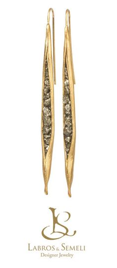 Gaia | GOLD PLATED SILVER EARRINGS With PYRITE - product image SCHJ www.silverchamber.co.uk