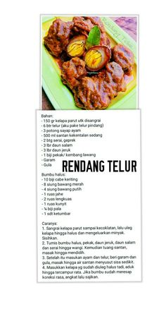 Egg Recipes, Asian Recipes, Cooking Recipes, Eat Me Drink Me, Food And Drink, Indonesian Food, Indonesian Recipes, Malay Food, Savoury Dishes
