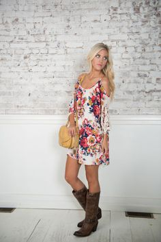 -------> Top Dress Picks for Fall<-------Keep summer alive this fall with a floral dress! Layer with a denim or leather jacket and wear those boots you love so much!