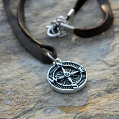 Men's leather cord necklace simple rustic jewelry gift for him under 25 compass necklace graduation gift handmade nature inspired jewelry If you love fashion check us out. We're always adding new products for your closet!