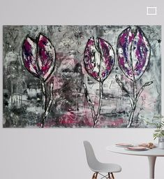 Paars grijs schilderij met tulpen Tapestry, Paintings, Canvas, Home Decor, Tulips, Hanging Tapestry, Tela, Tapestries, Decoration Home