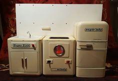 Vintage AMB Marchesini Bologna Italy Metal Toy Tin Kitchen set. Refrigerator