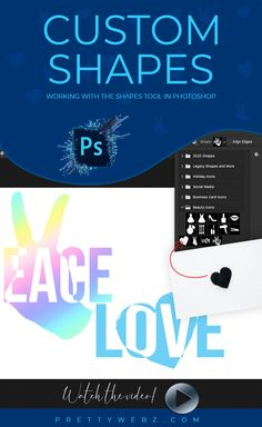 """In this Photoshop shapes tutorial, I have a lot of little lessons on the Photoshop shapes tool from combining shapes, making text shapes, and combining text and shapes to make new shapes. We will cover why the """"Define custom shape"""" option is grayed out and how to fix it. You can use shapes for so many things. Make watermarks, use them to make quick work of social media graphics, web design, business cards, icons, etc."""