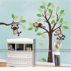 Children's room monkey tree Wall Art Vinyl Decoration Removable Sticker KT20 | eBay
