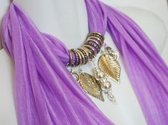 Fabulous idea of blending jewelry with scarves...her shop on etsy is gorgeous and unique.