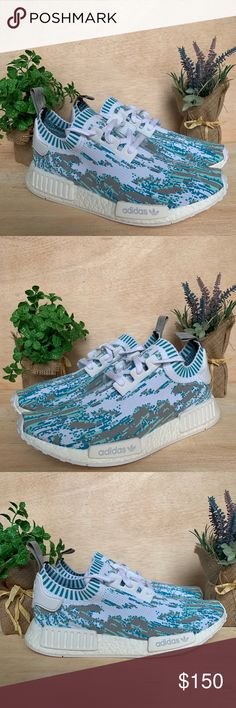 dd3f5164062c8 Adidas NMD R1 SNS PK Datamosh Shoes Size 10 Size 11 Brand New (Never Worn)  Does not include the original box Product Number  BB6364 Aqua Blue White  Colorway ...