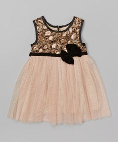 Look at this Gold & Black Floral Bow Dress - Infant & Toddler on #zulily today!