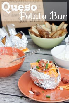 Queso potato bar with Rotel and Velveeta. Perfect for parties and meals with friends. Party Food from Nap-Time Creations #QuesoForAll #ad