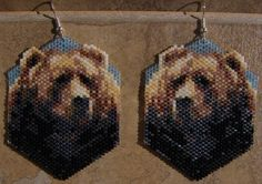Bear Earrings Hand Made Seed Beaded by wolflady on Etsy, $33.00