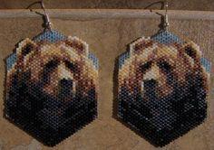 beaded bear earrings on etsy