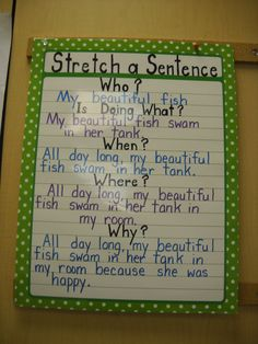 Love this reminder for students to write longer sentences!