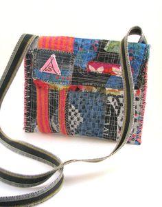 Handmade Upcycled Bag Messenger Style Blues by itzaChicThing.