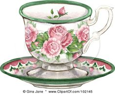 Royalty-Free (RF) Clipart Illustration of a Pink Rose Tea Cup And Saucer by Gina Jane Tee Kunst, Tea Cup Drawing, Victorian Teacups, Tea Party Invitations, Art Calendar, Decoupage Vintage, Teapots And Cups, Tea Art, Gif Animé