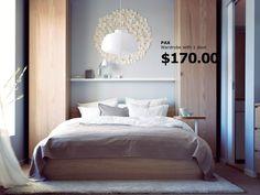 Vertical storage with wooden veneer in the master bedroom