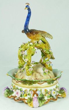 ANTIQUE GERMAN PORCELAIN PEACOCK INKWELL SET
