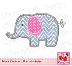 Elephant Applique -4x4 5x7 6x10-Machine Embroidery Applique Design by CherryStitchDesign on Etsy