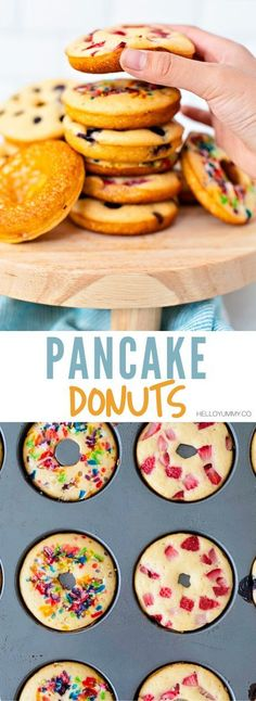 Pancake Donuts made from a pancake mix. Kid-friendly breakfast that is healthier than regular fried donuts! friendly recipes to make Healthy Meals For Kids, Easy Healthy Recipes, Kids Meals, Healthy Kid Friendly Recipes, Kid Friendly Healthy Breakfast, Healthy Brunch, Camping Meals, Kids Cooking Recipes, Easy Cooking