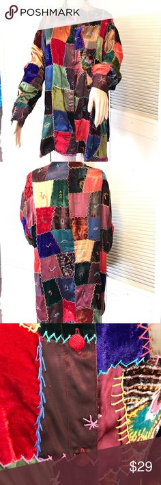 """Vintage Lew Magram Collection Patchwork Tunic XL Coat of Many Colors! Vintage piece, fully-lined, with hand-sewn detailing. Each button is a unique color! 48"""" at bust and 32"""" in length. A perfect piece for Fall. Lew Magram Tops Tunics"""