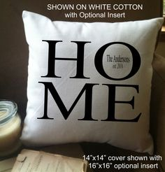 Personalized HOME decorative throw pillow cover with name and date by MinnieandMaude on Etsy