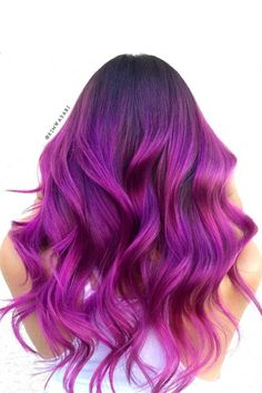 Trendy Hair Color : Bright Purple Hair ❤️ When you think about purple hair, you migh. Bright Purple Hair, Bright Hair Colors, Hair Color Purple, Purple Ombre, Purple Streaks, Purple Bob, Dark Purple, Cute Hair Colors, New Hair Colors