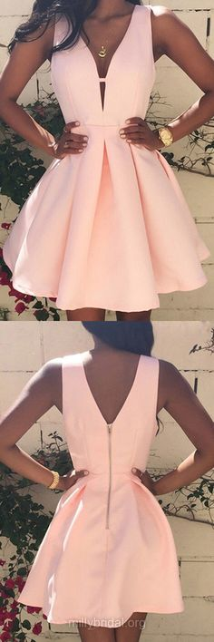Cheap Homecoming Dresses, Casual A-line Cocktail Dresses,V-neck Satin Party Gowns,Short/Mini Ruffles Prom Dresses