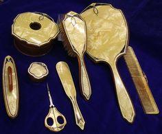 Antique Dressing Table Sets, Nécessaires, Travel Cases For Ladies and Gentlemen | Interior Design Files  Art deco vanty set in celluloid