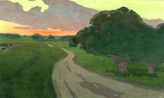 The Long Road - Argilla Road, Ipswich/ Arthur Wesley Dow: I love the green sky. Added note by Roger Carrier