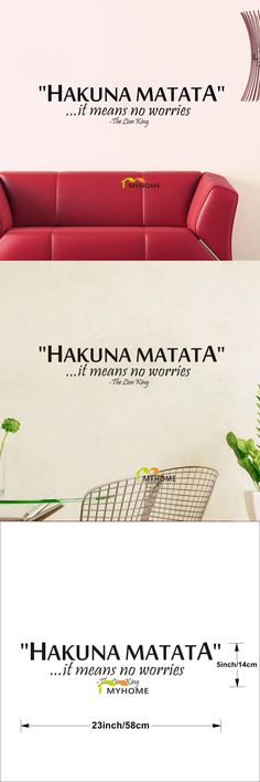 [Visit to Buy] The Lion King Quotes HAKUNA MATATA It Means No Worries Decorative Wall Stickers Vinyl Wall Art Decals for Kids Rooms #Advertisement