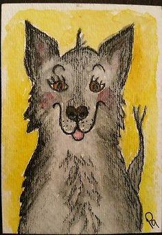 Dog ACEO Original Animal Watercolor Art Drawing Wilbur Funny Dog