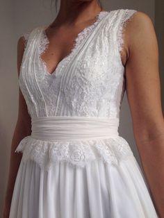Robe de mariée bohème de mousseline de soie par MariStyleCouture