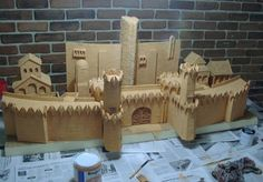 I really loved the look of the old GW Walls of Minas Tirith set. They were so shapely and beautiful. Umbar's walls were built by the same peoples, so should share a 'look' (though my walls will be bigger, as I intend the main gate to be big enough to accommodate a Mumak. Wooden Castle, Toy Castle, Wargaming Table, Wargaming Terrain, Fantasy Rpg, Medieval Fantasy, Castle Project, Minas Tirith, Game Terrain