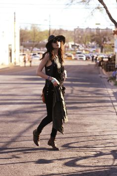 Natalie Off Duty in our Shiver velvet Overalls at SXSW
