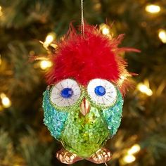Feather Owl Glass Ornament 8.00