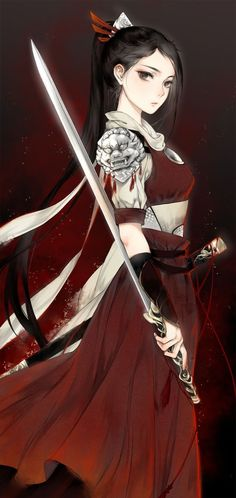 Anime warrior girl with sword red