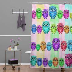 Lisa Argyropoulos Little Hoots Stripes Multicolor Shower Curtain